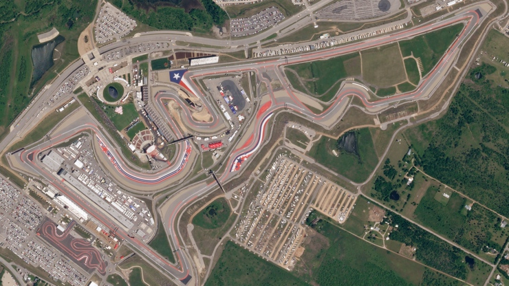 Aerial view of the Circuit of Americas US Grand Prix in 2018