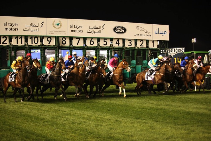 Horse racing at Meydan in Dubai
