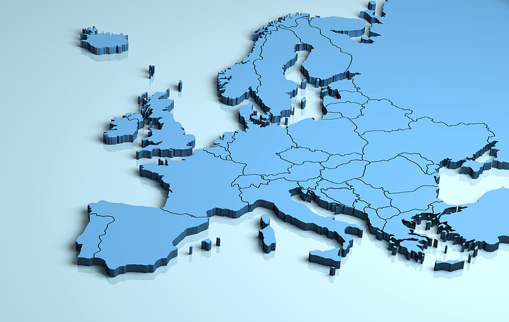 3D Map of Europe in Blue