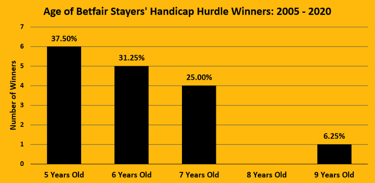 Chart Showing the Ages of the Betfair Stayers' Handicap Hurdle Winners Between 2005 and 2020