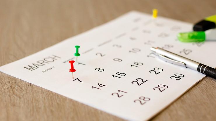 Colourful Pins in Calendar