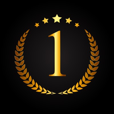 Gold Number 1 with Laurel Wreath