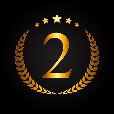 Gold Number 2 with Laurel Wreath