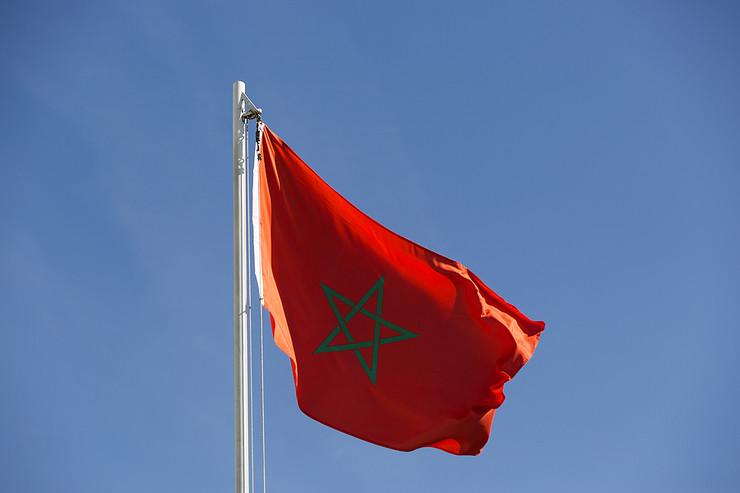 Morocco Flag Against Blue Sky