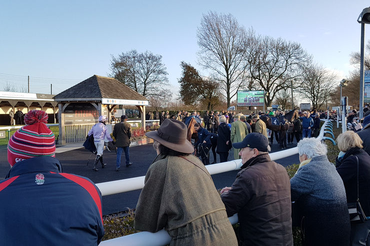 The Winner's Enclosure at Huntingdon Racecourse after the 2019 Peterborough Chase