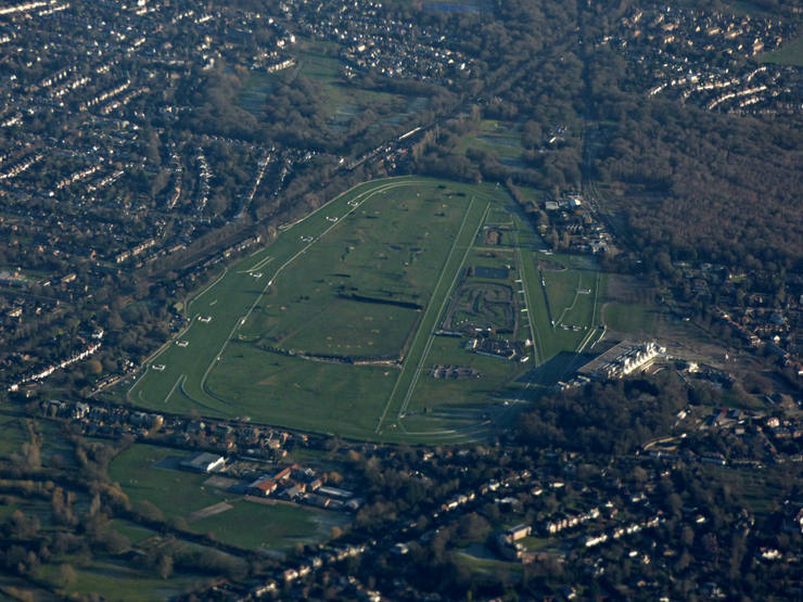 Aerial View of Sandown Park Racecourse in January