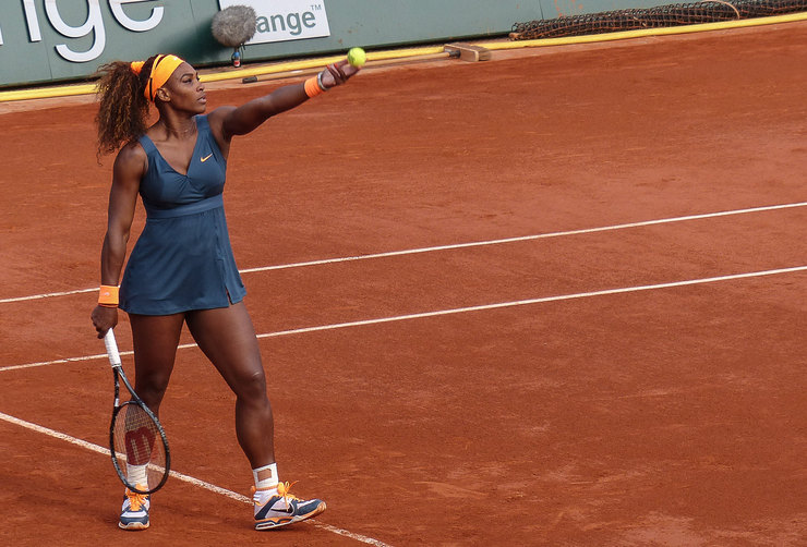 Serena Williams Serving at the French Open