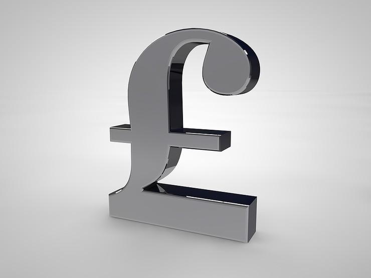Silver 3D British Pound Symbol