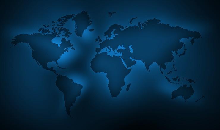 World Map in Dark Blue