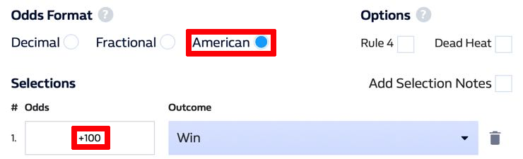 American betting odds