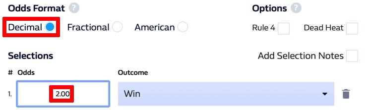 Decimal betting odds