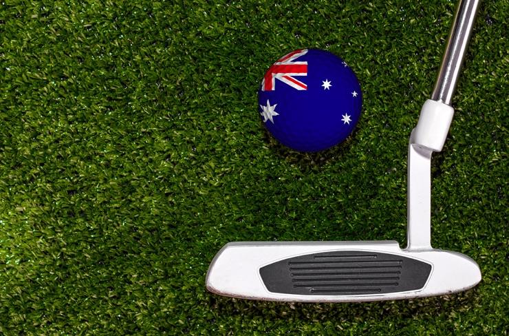 Australian flag on a golf ball