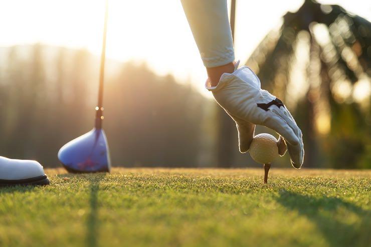 Golf tee up close