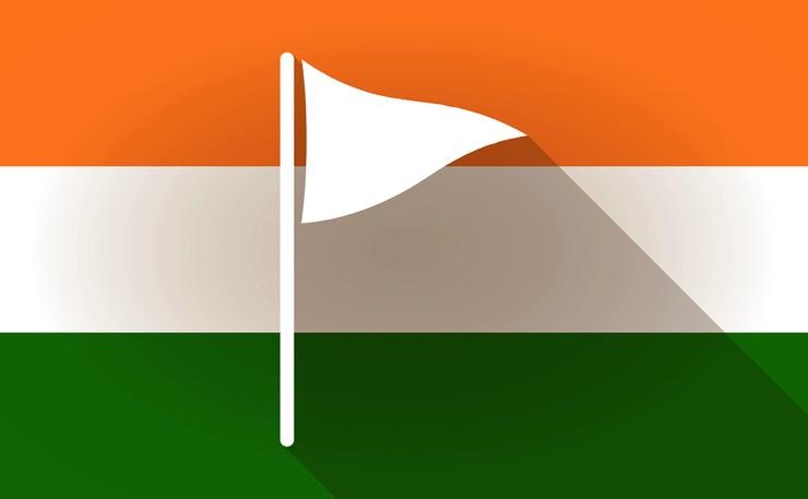Golf flag over Indian flag