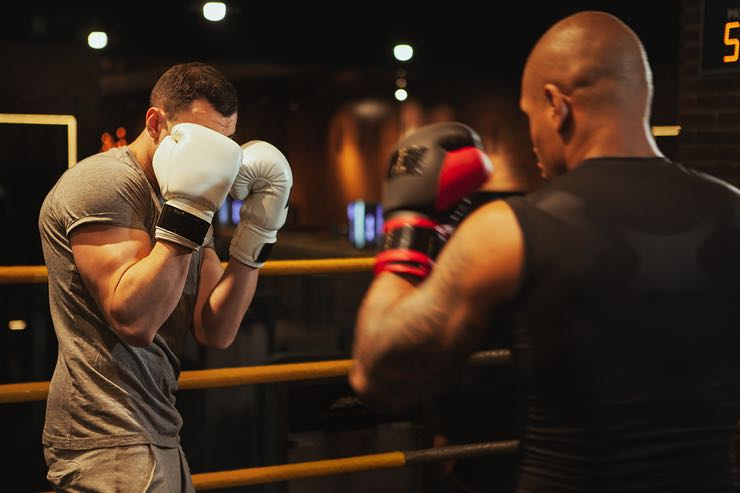 Male boxers in the gym