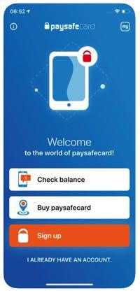 Paysafecard app screenshot