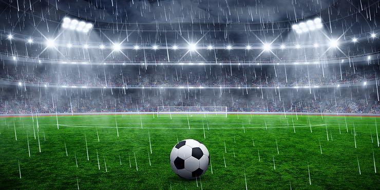 Rainy football pitch