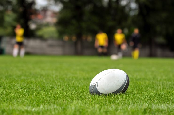 Rugby ball on pitch